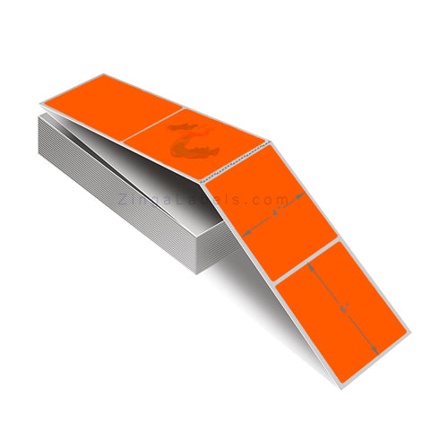 Florescent Orange Thermal Transfer Labels, Fan Folded 4 x 6""