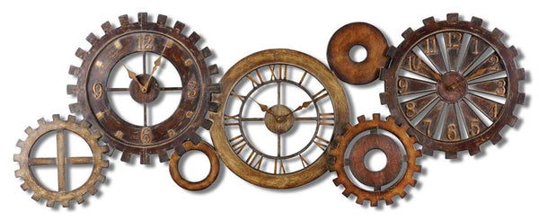 clock, unique clock, metal clock, bronze clock, multiple clocks