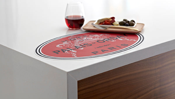 placemat, vinyl placemat, vinyl, oval placemat, paris placemat, red placemat