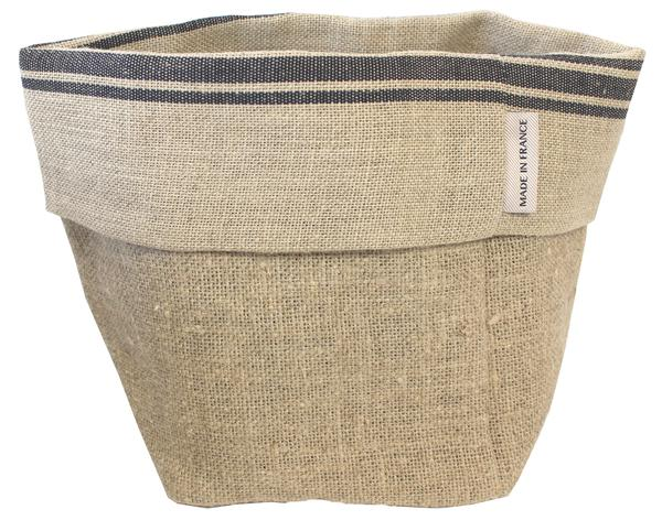 Thieffry Black Monogramme Linen Bread Bag