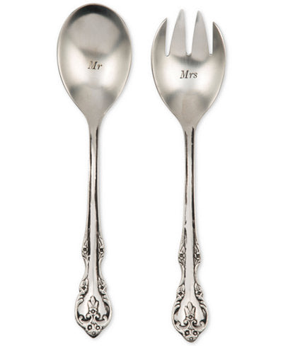 salad servers, new couple gift, couple gift, metal salad servers, wedding gift