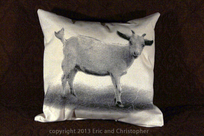 goat pillow, goat pillow sale, pillow sale, Eric & Christopher, hand made pillow, made in the US