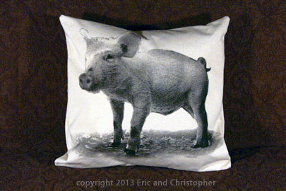 baby pig pillow, piglet pillow, baby pig pillow sale, piglet pillow sale, Eric & Christopher, pillow sale, hand made pillow, made in the US