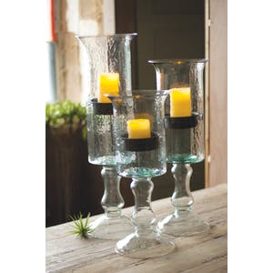 Sm. Pedestal Glass Candle Holder