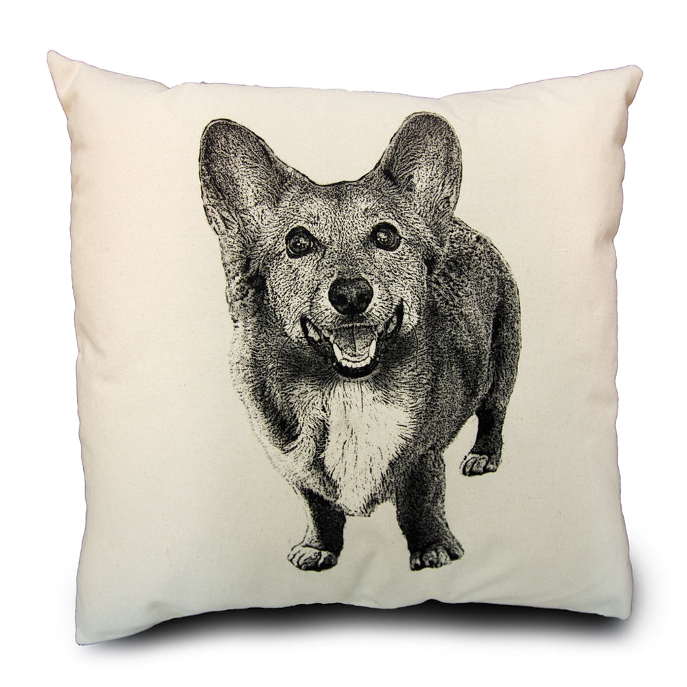 Corgi pillow, Eric & Christopher, pet pillow, hand made pillow, made in the US, screen printed pillow, corgi pillow sale, pillow sale, pet pillow sale