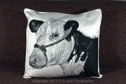 cow pillow, cow pillow sale, Eric & Christopher, hand made pillow, made in the US, pillow sale, farm pillow, farm animals