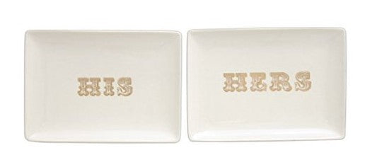his and hers dishes, accent dishes, gold accent dishes, wedding gift, anniversary gift, engagement gift