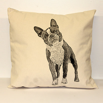 Boston Terrier, Boston Terrier pillow, hand printed pillow, pillow sale, pillow made in the US