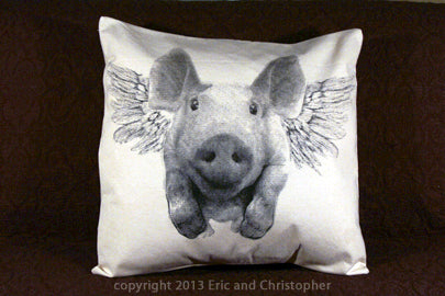 flying pig pillow, pig pillow, pig pillow sale, flying pig pillow sale, Eric & Christopher, hand made pillow, mad in the US