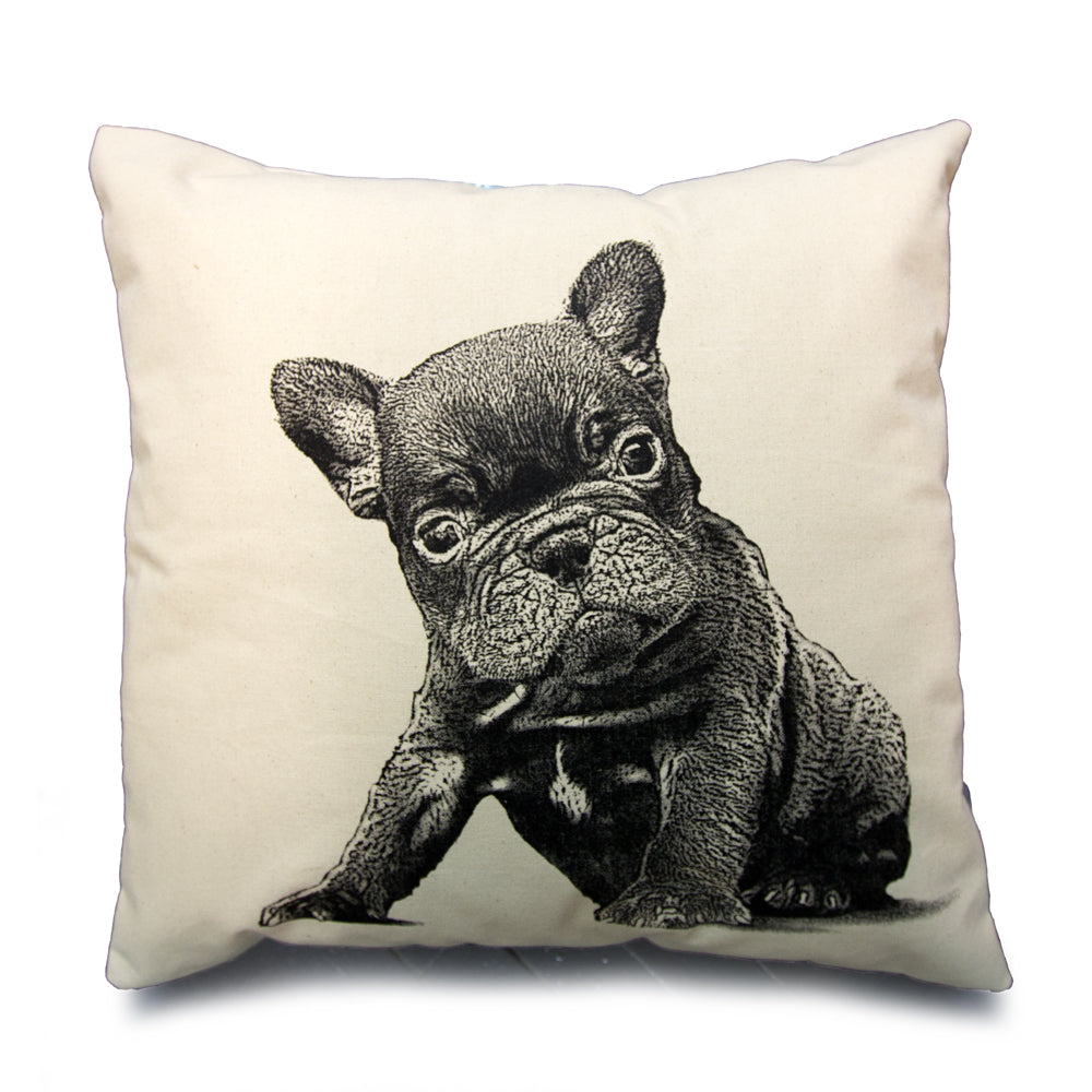 French Bulldog puppy pillow, French Bulldog pillow, puppy pillow, dog pillow, Eric & Christopher, hand made, made in the US, screen printed