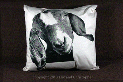 goat pillow, goat pillow sale, farm animal, farm pillow, Eric & Christopher, hand made pillow, made in the US