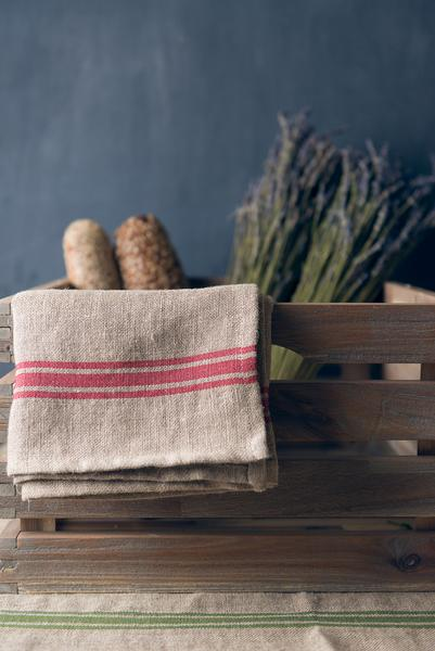 Thieffry Red Monogramme Linen Napkin
