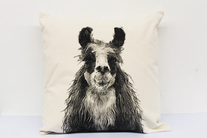 llama pillow, llama pillow sale, Eric & Christopher, hand made pillow, made in the US, pillow sale