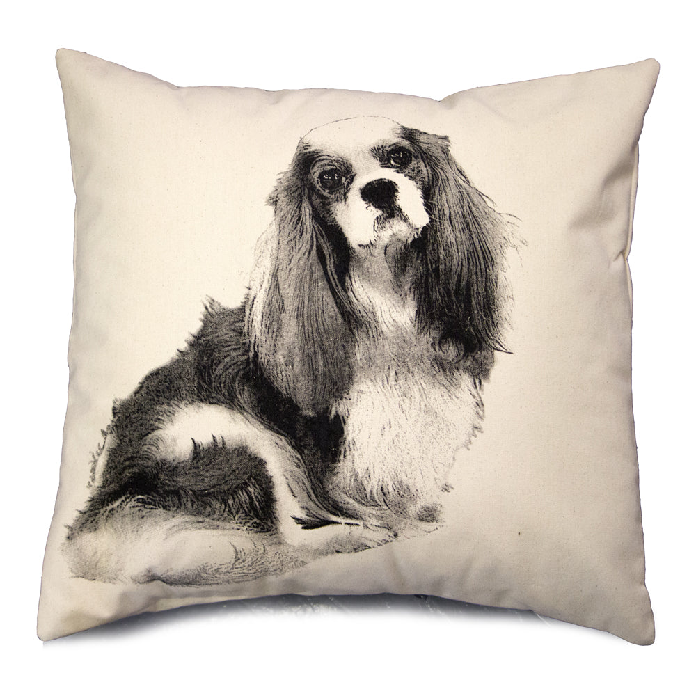 King Charles Cavalier dog, King Charles Cavalier dog pillow, hand made pillow, Eric & Christopher, made in the US, pillow sale, dog pillow sale,  Cavalier dog, Cavalier dog pillow
