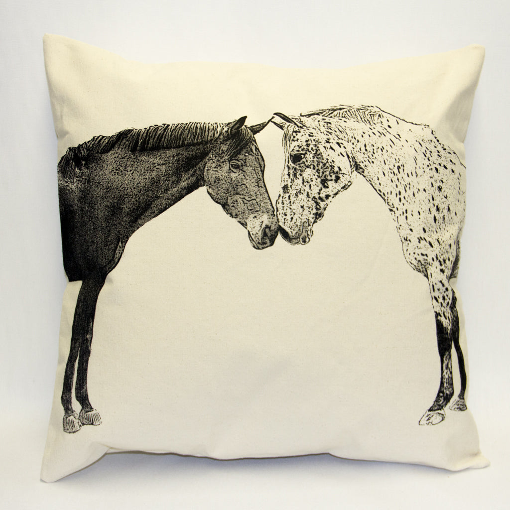 horse pillow, kissing horses, Eric & Christopher, farm animals, farm pillow, horse pillow sale, hand made pillow, made in the US