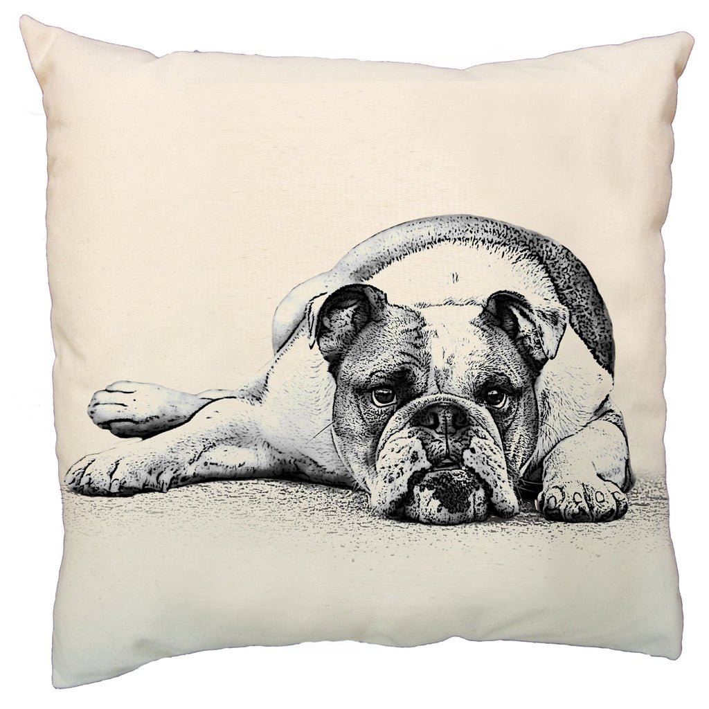 bulldog, bulldog pillow, bulldog pillow sale, screen printed pillow, pet pillow, dog pillow, made in the US, hand made pillow