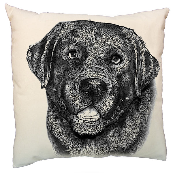black lab, black lab pillow, Eric & Christopher, Hand printed, dog pillow, hand printed pillow, pillow made in the US
