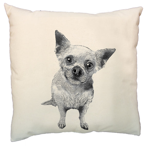 Eric & Christopher, dog pillow, hand printed pillow, made in the US, chihuahua pillow, pillow sale, dog pillow sale,