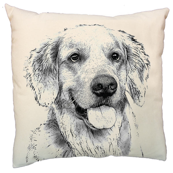 Golden Retriever pillow, dog pillow, Golden Retriever pillow sale, Eric & Christopher, pillow sale, hand made pillow, made in the US, Bucks county