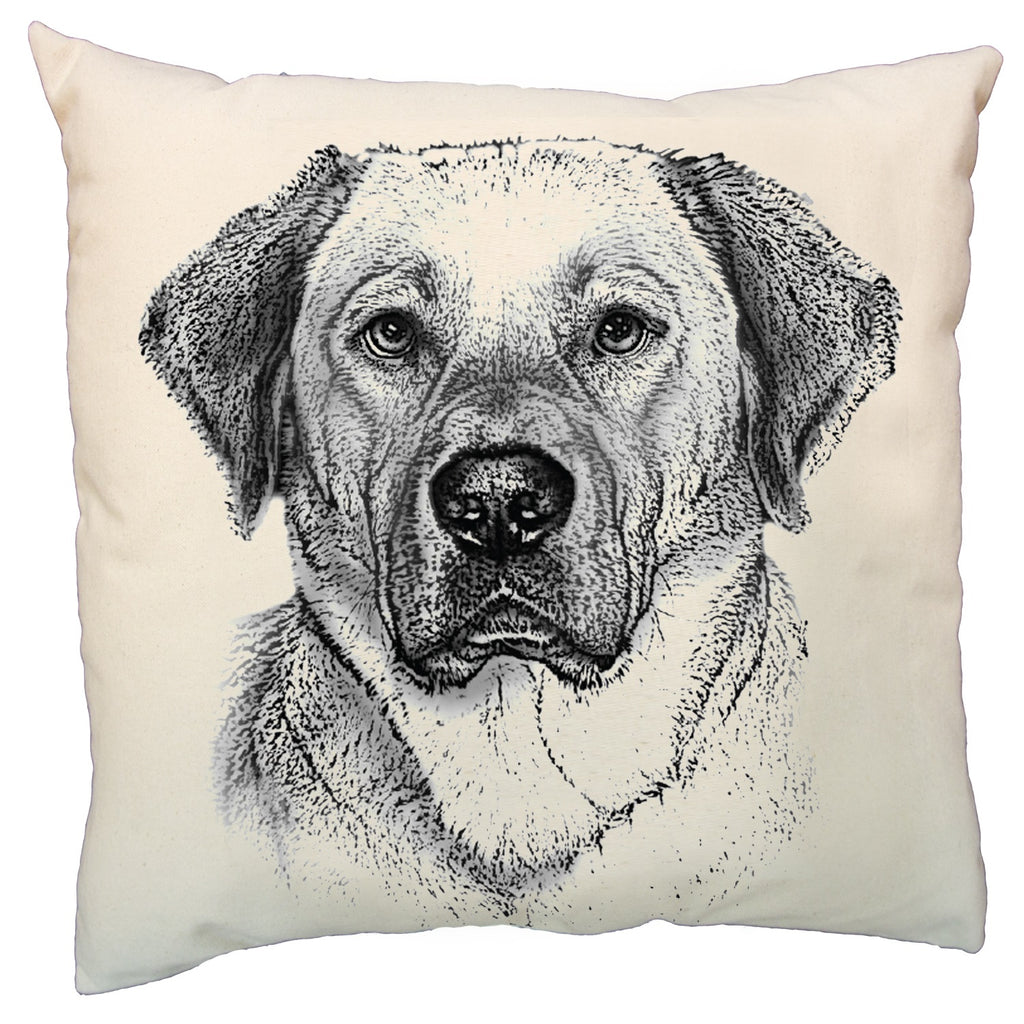 yellow lab pillow, dog pillow, hand made pillow, Eric & Christopher, made in the US, yellow lab pillow sale