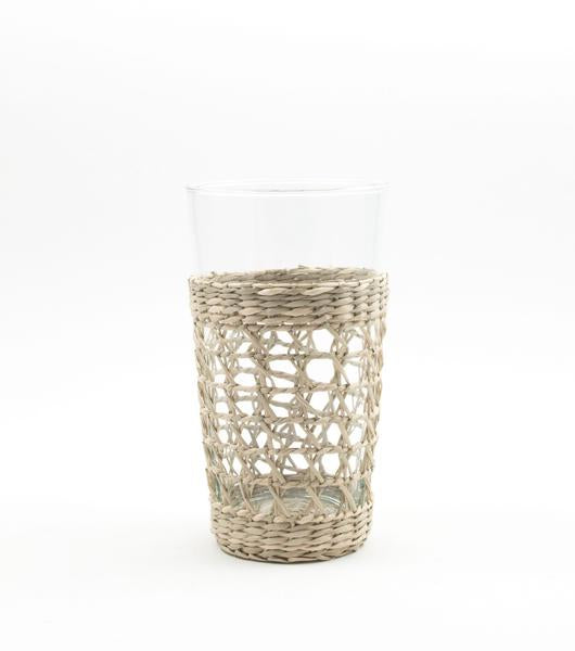 glass, unique glass ware, seagrass, seagrass wrap, highball glass