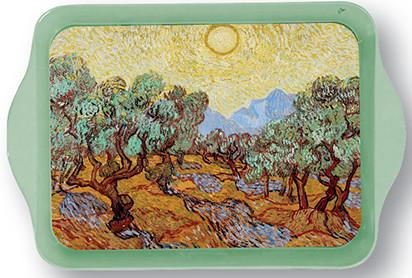 Van Gogh Olive Trees with Yellow Sky Mini Metal Tray