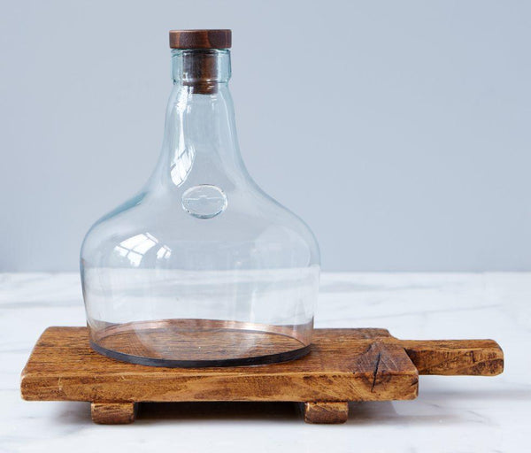 cloche, demijohn cloche, glass, reclaimed glass, accent piece, reclaimed wine cork,