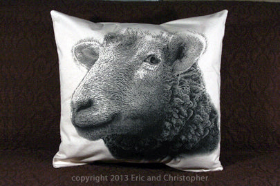 sheep pillow, farm animal, farm animal pillow, sheep pillow sale, Eric & Christopher, made in the US, hand made pillow