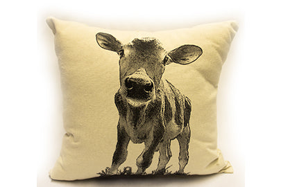 Baby cow pillow, baby cow, baby cow pillow sale, farm animal pillow, pillow sale, hand made pillow, made in the US, Eric & Christopher