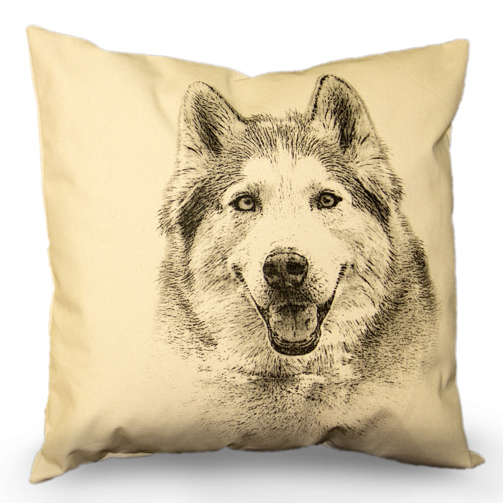 Husky pillow, dog pillow, pet pillow, Husky pillow sale, handmade pillow, made in the US, Eric & Christopher, Bucks county