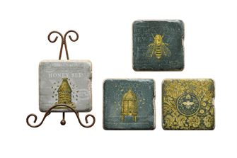 Resin Coasters w/ Bees & Metal Easel