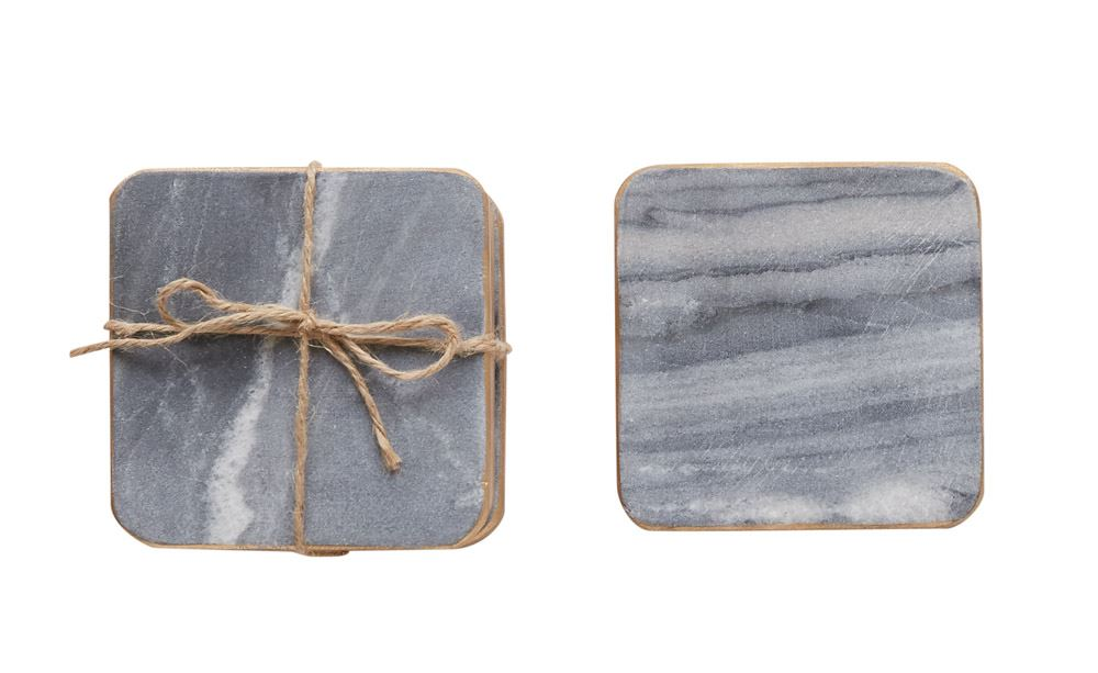 Marble Coasters, Grey w/ Gold Edge