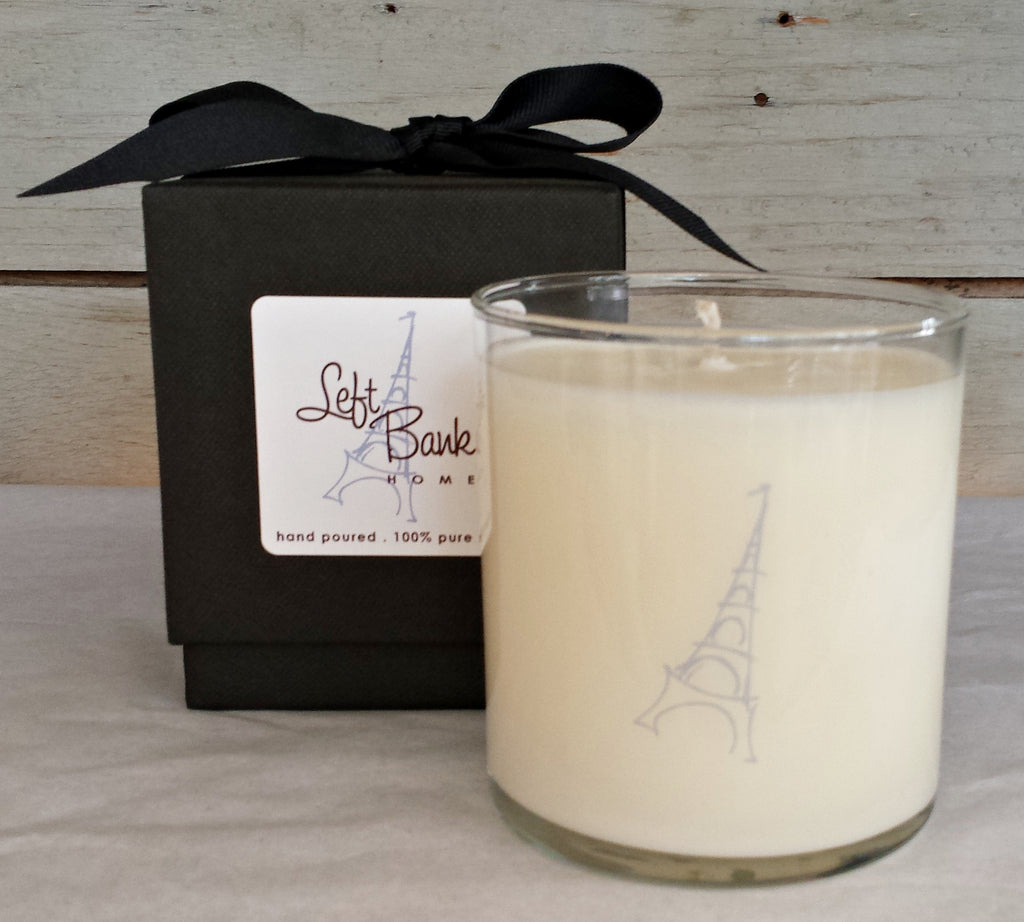 scented candle, custom fragrance, left bank home private label, soiree, soy candle, Floral candle, floral scent, rose petal, white cedar, sea salt