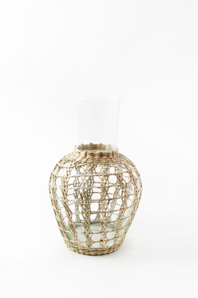 seagrass, indochine, cage, salad bowl, glass bowl, kiss that frog, woven seagrass, retro, carafe