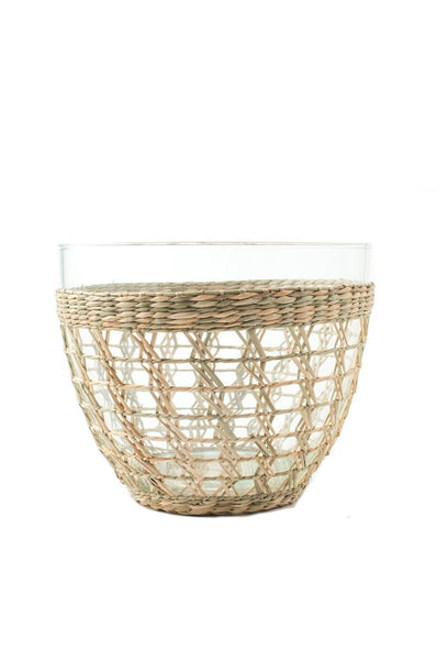 seagrass, indochine, cage, salad bowl, glass bowl, kiss that frog, woven seagrass, retro