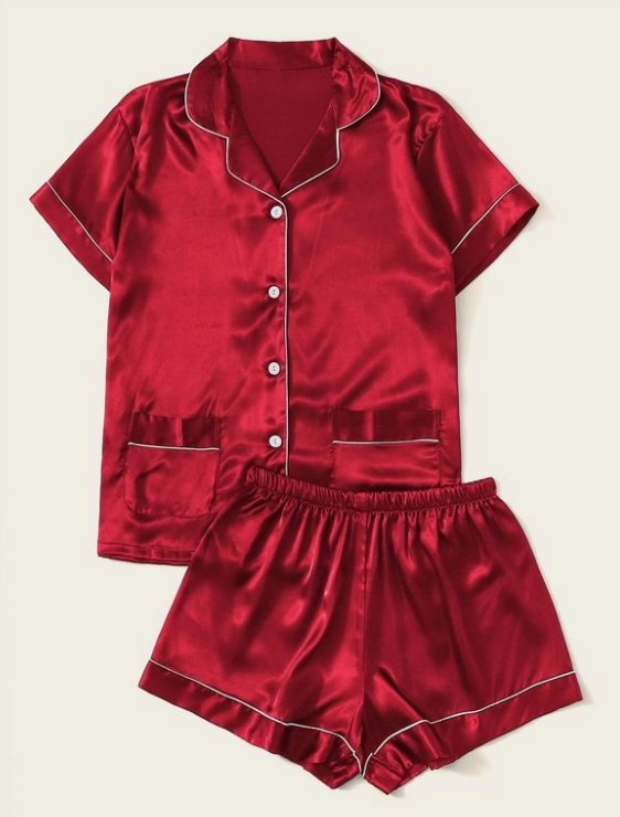 Burgundy Satin Pajama Short Set (4310082453606)