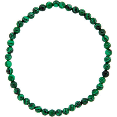 Malachite (Reconstituted) - 4mm Round Bead Bracelet