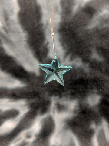 Teal Star Hanging Crystal