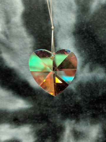Yellow Aurora Heart Hanging Crystal