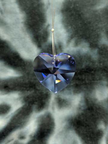 Purple Heart Hanging Crystal