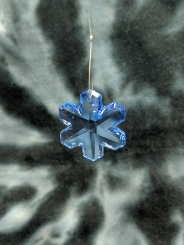 Blue Snowflake Hanging Crystal