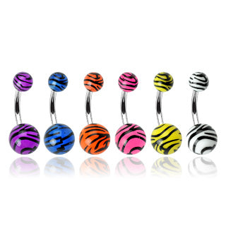 Tiger Print Acrylic Balls 316L Surgical Steel Navel