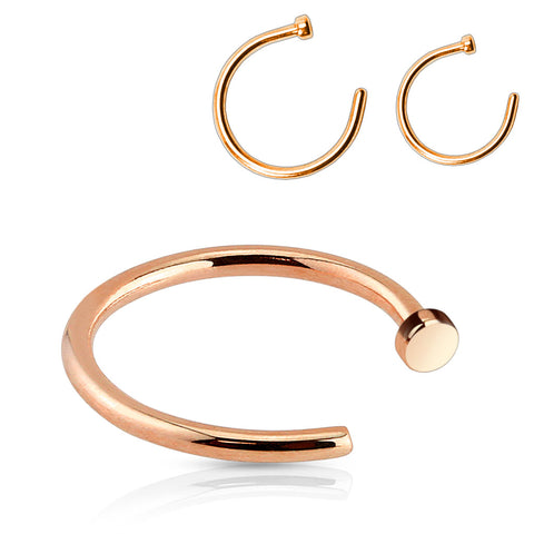 Rose Gold Titanium Ion Plated 316L Surgical Steel Nose Hoop
