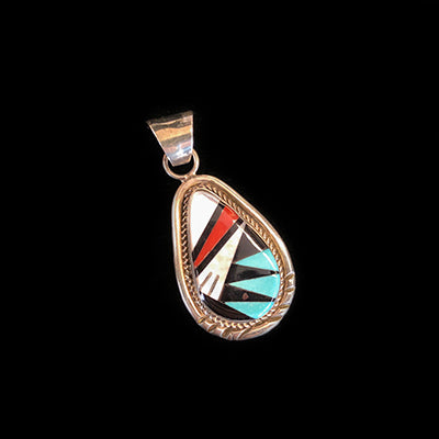 Native American Tear Drop Inlay Pendant