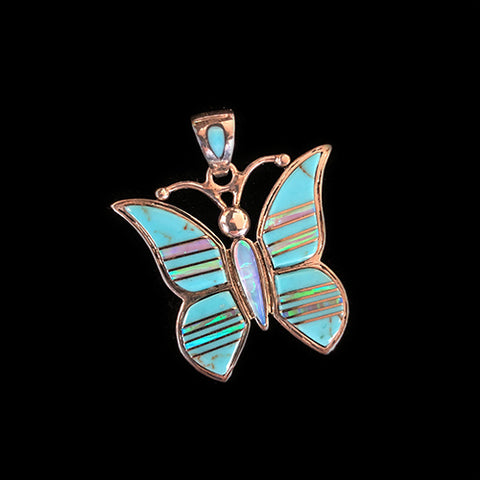 Native American Butterfly Inlay Pendant