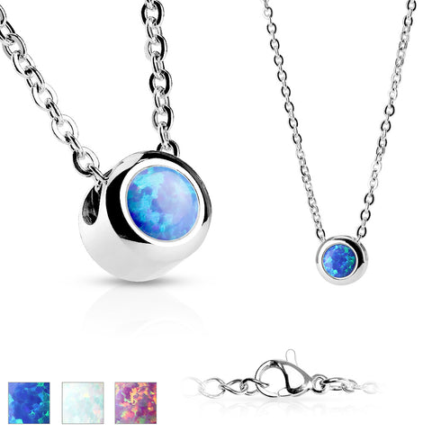 Stainless Steel Opal Necklace