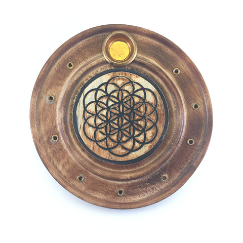 Flower of Life Wooden Disk Ash Catcher