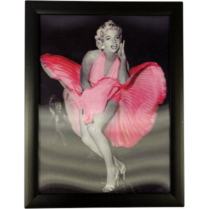 image of iconic 3d 40x30cm marilyn pink dress