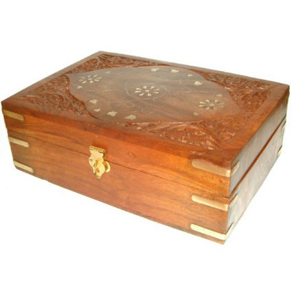 image of carved wooden aromatherapy box holds 24x10ml