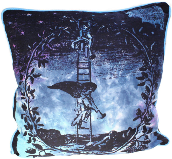 image of angel on ladder cotton print cushion cover